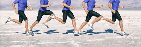 Biomechanics of running - gait cycle movement analysis of runner sprinting through desert jogging fast. Closeup of legs and shoes composite of motion.