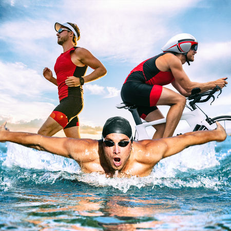 Triathlon swim bike run triathlete man training for ironman race concept. Three pictures composite of fitness athlete running, biking, and swimming in ocean. Professional cyclist, runner, swimmer. Stockfoto