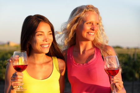 Winery wine tasting tour at countryside vineyard girl friends drinking red wine together watching sunset. Two happy women enjoying summer outdoor activity, multiracial group. Stockfoto