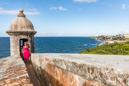 Puerto Rico San Juan city travel tourist taking phone selfie photo at Castillo San Felipe Del Morro fortress. Tourism in Old San Juan main attraction of the city famous cruise destination. Stock Photo - 110812035