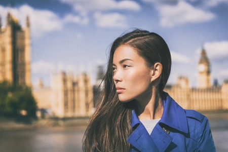 Asian beauty woman fashion at London city, Westminster, Big Ben in the background. Fashion model portrait with serious face. Autumn travel lifestyle.