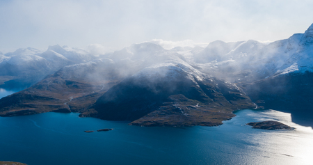 Mountain landscape nature aerial drone image showing amazing greenland landscape near Nuuk of Nuup Kangerlua fjord seen from Ukkusissat mountain