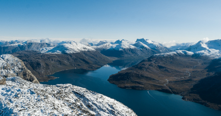 Greenland nature mountain landscape aerial drone photo showing amazing greenland landscape near Nuuk of Nuup Kangerlua fjord seen from Ukkusissat mountain. Tourist adventure travel destination