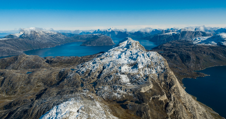 Greenland nature mountain landscape aerial drone image showing amazing greenland landscape near Nuuk of Nuup Kangerlua fjord seen from Ukkusissat mountain. Tourist adventure travel destination Stock Photo