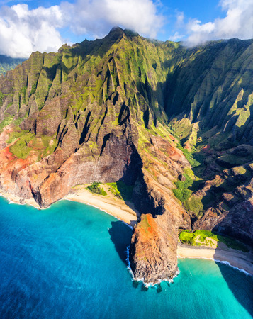 Hawaii beach, Kauai island Na pali coast from above. Hawaiian travel destinaton, Honopu valley and famous arch.