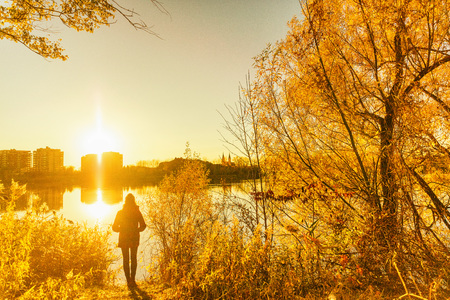 Autumn fall colors, yellow tree leaves girl walking in city park. Nature outdoor lifestyle.