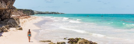 Barbados beach cruise tropical vacation woman banner. Ginger beach famous tourist destination.