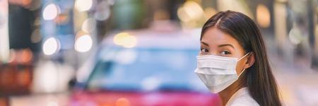 Grippevirus-Schutzmaske zum Schutz vor Influenza-Krankheitsviren und -krankheiten. Kranke sianische Frau, die im öffentlichen Raum eine chirurgische Gesichtsmaske trägt. Gesundheitswesen-Banner-Panorama-Konzept. Standard-Bild