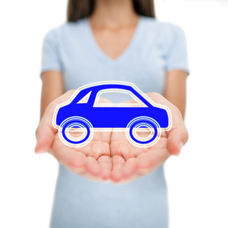 Car business woman woman showing design concept. car rental or insurance care small blue automobile for transport or lease. Open hands. Eco friendly environment electric hybrid auto insurance concept.