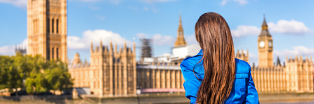 London Europe city travel woman panoramic banner looking at Westminster parliament, famous tourism attraction landmark. Autumn tourist people lifestyle. Background landscape panorama.