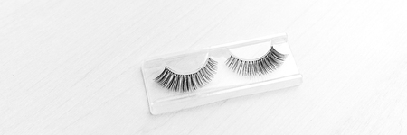 Fake eyelashes makeup beauty accessory banner panorama.