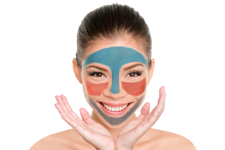 Fun beauty product multimask woman applying different masks on skin. Facial treatment trend multimasking. Face mask lifestyle.