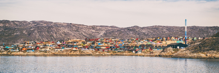 Greenland view of Ilulissat City and icefjord. Tourist destination in the actic.