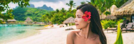 Panorama de bannière de soins de la peau spa bien-être femme beauté naturelle asiatique sur fond de plage tropicale.