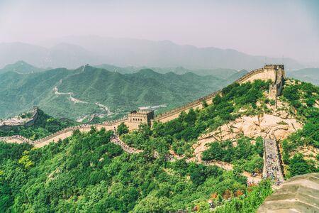 Great Wall of China landscape tourist destination near Beijing, China. Badaling North ruins.