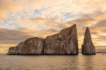 Galapagos Kicker Rock nature landscape. Iconic landmark and tourist destination for birdwatching, diving and snorkeling, San Cristobal Island, Galapagos Islands, Ecuador. Roca Leon Dormido in spanish.