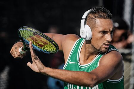 Montreal - AUGUST 5. Nick Kyrgios, professional tennis player and genius at training during ATP Tour Masters 1000 tournament, Canada Open aka Rogers Cup in Montreal August 5 2019.