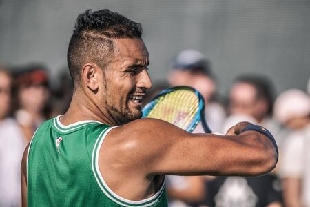 Montreal - AUGUST 5. Nick Kyrgios, professional tennis player hitting awesome forehand during practice at ATP Tour Masters 1000 tournament, Canada Open aka Rogers Cup in Montreal August 5 2019.