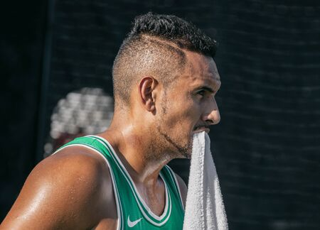 Montreal - AUGUST 5. Nick Kyrgios, professional tennis player portrait during practice at ATP Tour Masters 1000 tournament, Canada Open aka Rogers Cup in Montreal August 5 2019.
