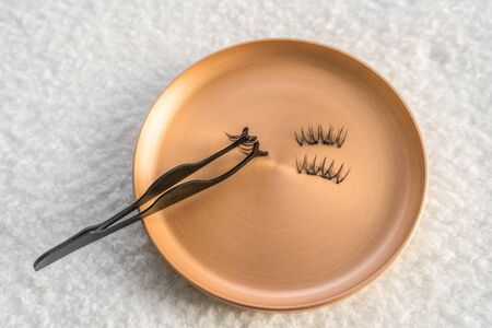 Magnetic eyelashes on stainless steel magnet golden display. 版權商用圖片