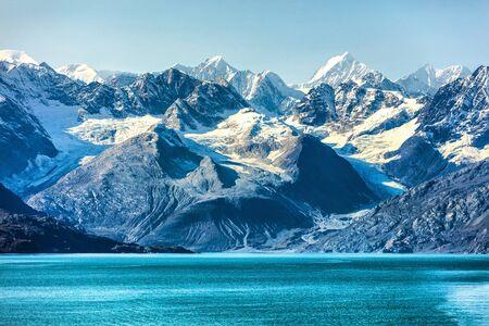 Glacier Bay cruise - Alaska nature landscape. Glacier Bay National Park in Alaska, USA. Scenic view from cruise ship vacation Alaska travel showing mountain peaks and glaciers. Reklamní fotografie