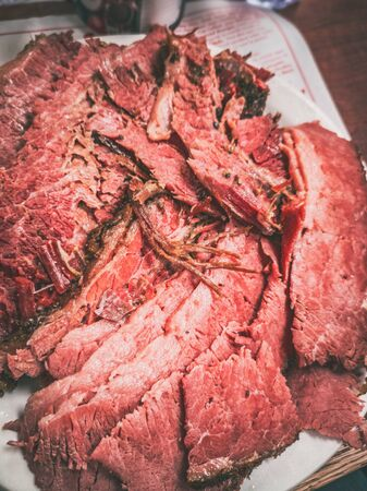 Smoked meat plate at local food deli restaurant. Closeup of sliced beef meal eat. Mobile picture taken with phone. 스톡 콘텐츠