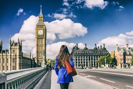 Brexit UK London city lifestyle background for EU UK concept. Commuter walking away on street. Stock fotó