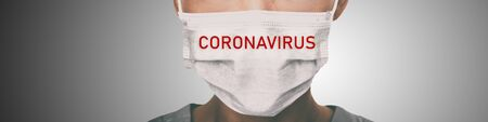 Coronavirus prevention panoramic banner doctor wearing surgical face mask against coronavirus. Panorama of medical staff people.