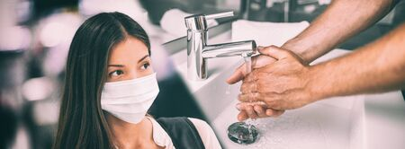 Coronavirus outbreak Asian woman wearing face mask versus man washing hands in hot water rubbing in soap panoramic banner.