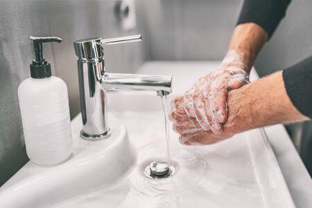 Washing hands rubbing with soap man for corona virus prevention, hygiene to stop spreading coronavirus.