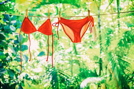 Clothing drying on clothesline outside on summer vacation handwash air dry eco friendly laundry. Red bikini swimming suit hanging outdoor women swimwear with green plants.