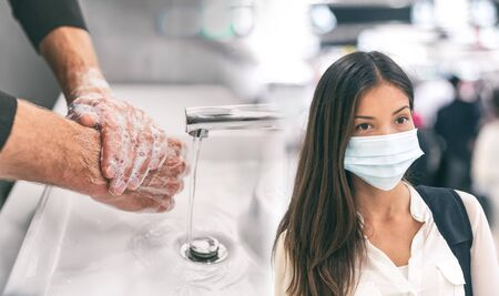 Corona virus protection methods to prevent spreading coronavirus in airport travel and public transport spaces. Asian woman wearing face mask versus man washing hands with soap hand hygiene.