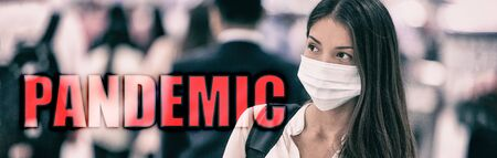 PANDEMIC coronavirus COVID-19 text on travel woman walking in airport travel banner background. Header 2019 novel corona virus. Asian people crowd wearing mask prevention walking.