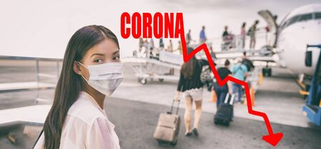 Coronavirus crashing stock market causing new financial crisis and bear market recession and economic downturn. Woman wearing surgical mask for corona virus going on plane by negative graph of stocks