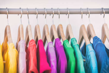 Clothes hanging on clothing rack wardrobe fashion apparel selection of rainbow color t-shirts on closet hangers. Womens wear in store shopping spring cleaning concept. Summer home wardrobe. 스톡 콘텐츠