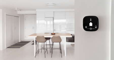 Smart home banner. IoT House automation domotics panoramic. Technology thermostat device with app icons showing temperature and heat cool adjustment.
