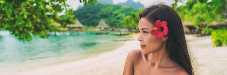 Asian natural beauty woman wellness spa skincare banner panorama on tropical beach background