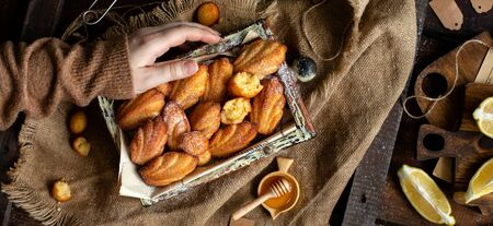overhead shot of homemade tasty french shell shaped biscuit dessert madeleine in wooden box on rustic table with sackcloth, honey, lemon Foto de archivo - 133846059