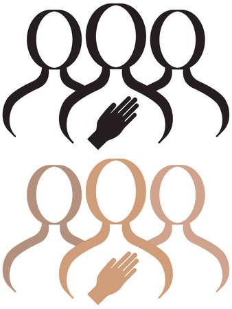 versprechen: Eine Support-Gruppe für eine Person, die eine Verpflichtung oder die Zusage macht. Illustration