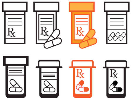 pharmacy symbol: A variety of prescription pill bottles. Illustration