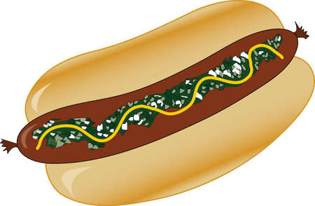 ground beef: Hot Dog on a bun with mustard and relish