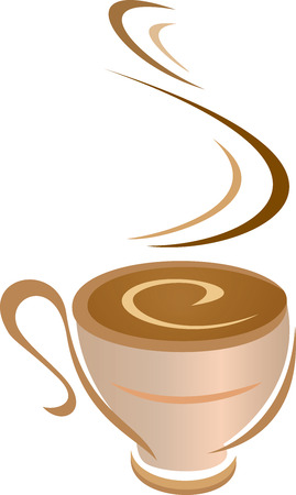 a vector illustration of a steaming mug of coffee
