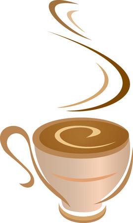 een vector illustratie van een dampende koffie mok