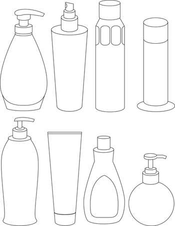 hairspray: a vector illustration showing a collection of bottles