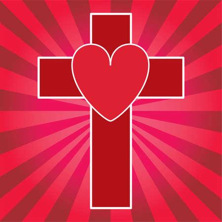 Red Cross and Heart Illustration Illustration