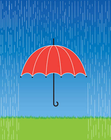 raining: A illustration of a bright red umbrella in a fierce rain storm.