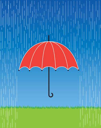 rainy sky: Una ilustraci�n de un paraguas rojo brillante en una tormenta de lluvia feroz. Vectores