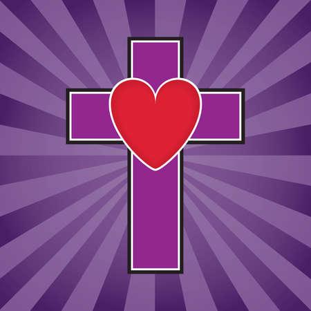 Kruis en hart illustratie  Stock Illustratie