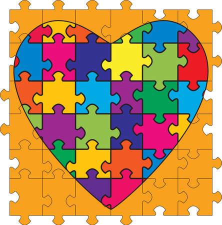 Een hartvormige puzzel. Ter illustratie van de complexiteit van de relaties.