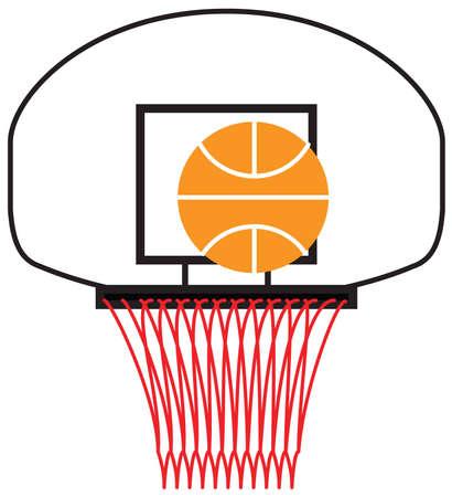 농구가 농구대에 쏜다. 일러스트
